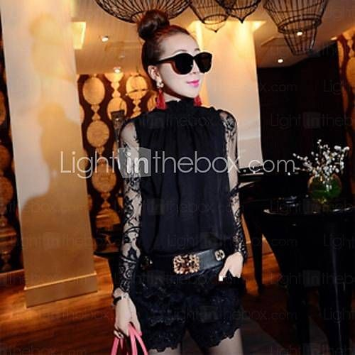 Women's Lace Black Blouse , Casual/Lace/Plus Sizes Stand Long Sleeve Lace 2015 – $18.58