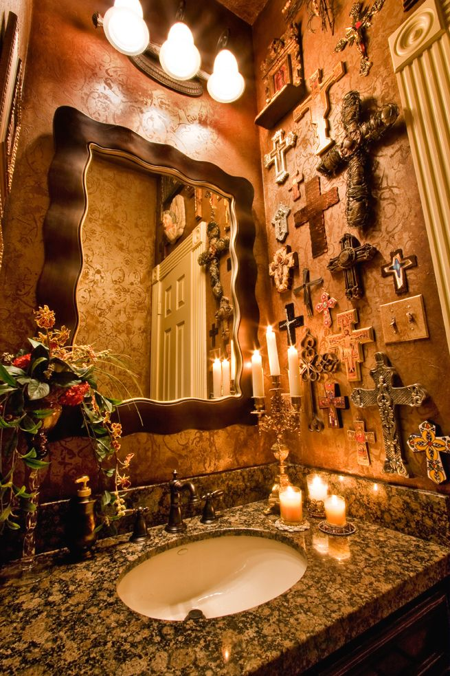 minus the crosses on the wall, this is absolutely beautiful for a powder room...