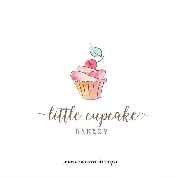 Premade Bakery Logo Cupcake Logo Watercolor Bakery Logo