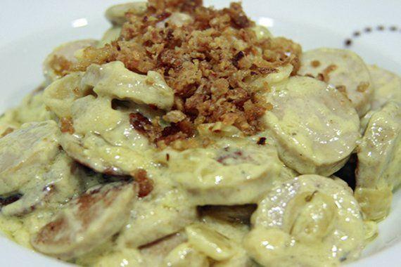 Receta Salchichas Brastwurst mostaza y cebolla