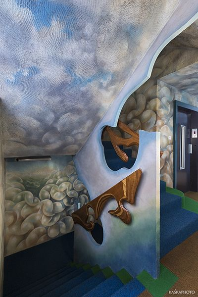 """""""The Crazy House"""" in Tel Aviv Stairs in a #Crazy #House,  covered with #handpainting, #motifs  #sea #seafoam #bubbles #bubblesofwater #sky #clouds #photo #Sikora #KaśkaSikora"""