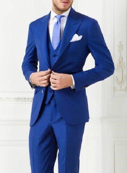 Latest Design Mens Dinner Party Prom Suits Groom Tuxedos Groomsmen Wedding Blazer Suits (Jacket+Pants+Vest+Tie)
