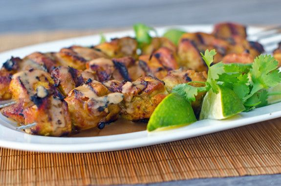 Grilled Thai Curry Chicken with Coconut Peanut Sauce