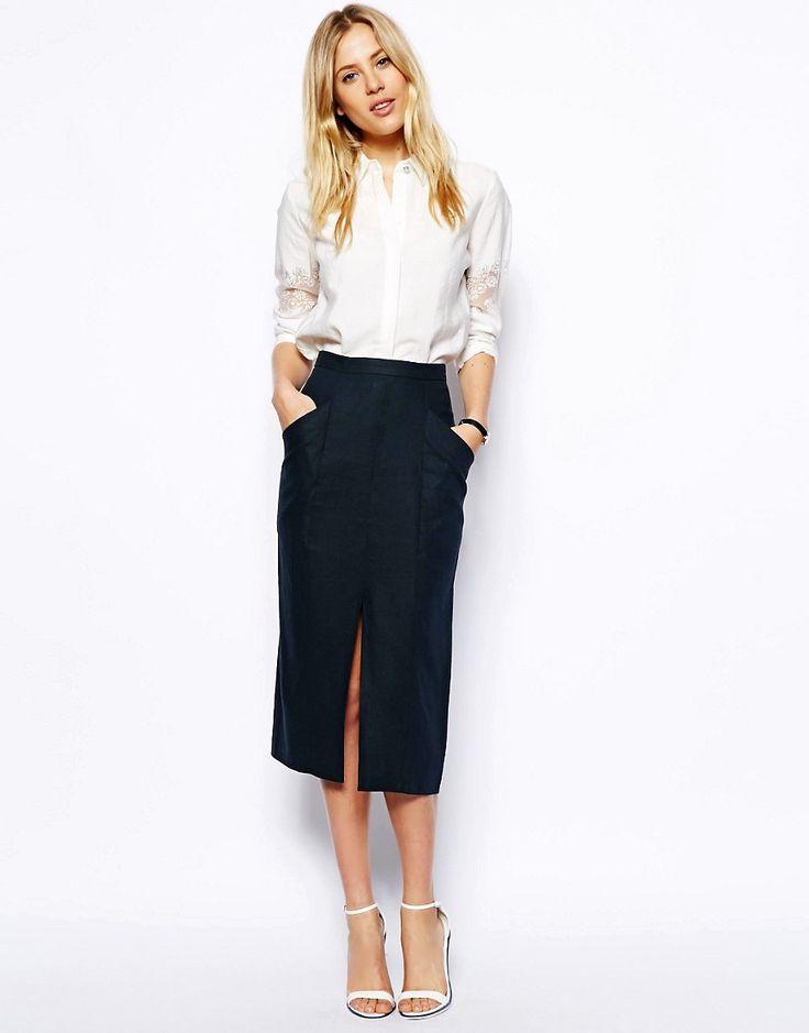 ASOS Linen Split Front Pencil Skirt saved by #ShoppingIS