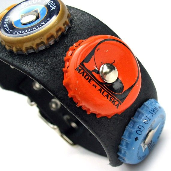 Unique dog collar....Love the made in AK bottle cap!!