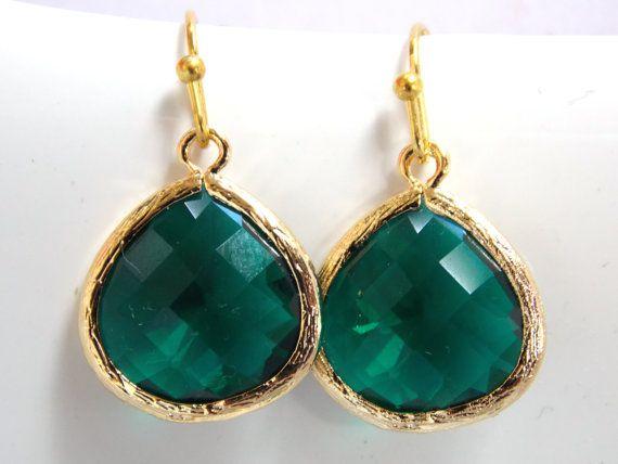 Green Emerald Earrings Glass Earrings Green Earrings by mlejewelry, $18.00