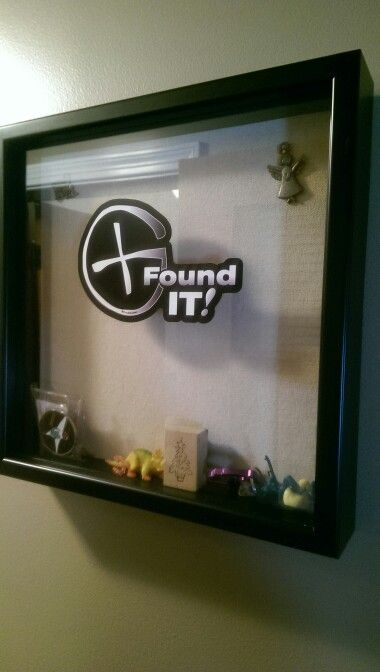 Geocaching display case. Wanted a cool place to store all the trinkets we find while geocaching. Found a $7 shadow box at walmart, ordered a cool geocaching vinyl from amazon and now we can display our cach with pride. :)