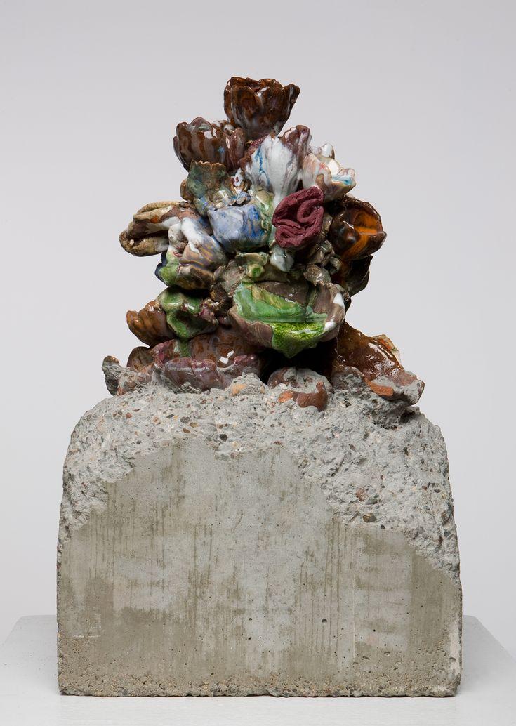 """Untitled 2009, 21"""" x 12"""", clay, low-fire glazes,  concrete, glass"""
