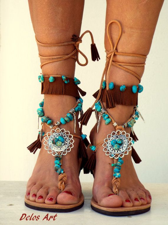 This leather sandal are made with turquoise beads, silver charms, brown fringe! Perfect for boho style or for a festival outfit ! Handmade from 100%