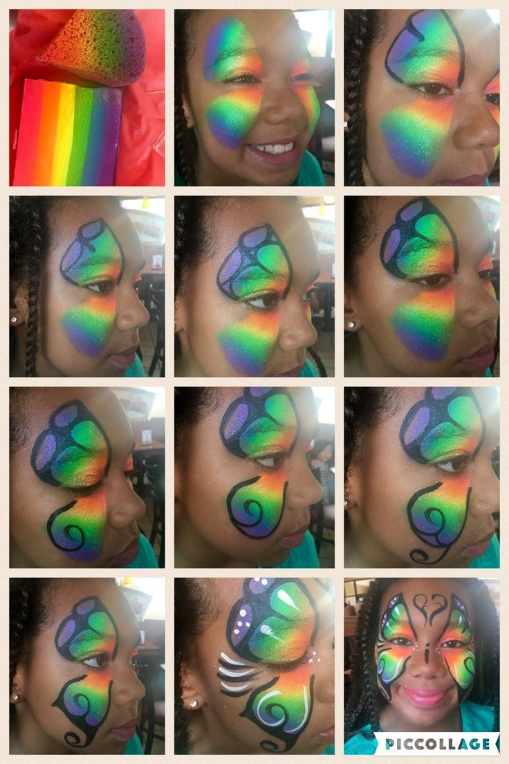 Rainbow Butterfly Face Paint Step By Step Tutorial with video https://youtu.be/XKXre5U4ZM4 #stepbystepfacepainting