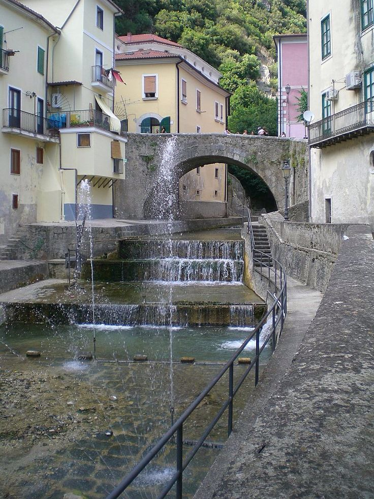 Tense River n bridge in Piazza Guerriero, in Campagna is a small town n comune of de province of Salerno, in de Campania region of Southern Italy