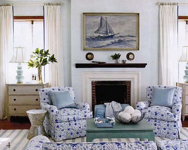 Upstairs Sitting Room Meg Braff China Seas Seya On Club Chairs Restrained Tones Elsewhere And Juicy Gourd Lamps