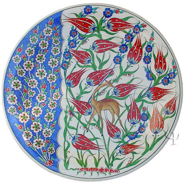 Iznik Design Ceramic Plate - Spring Flowers and Tulip yurdan.