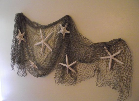 Perfect for a destination or beach wedding venue, or a coastal, nautical room in your home...This set includes a authentic used fish net (not the craft store reproductions) that is approx. 5 foot by 10 foot and 6 genuine cleaned, dried and bleached starfish that range in size from 3 to 8 inches, as well as 3 t-pins which is what I used to hang it (does very little damage to a wall or curtain). This also looks great with the net scrunched on a table or mantle. What a great price for this set…