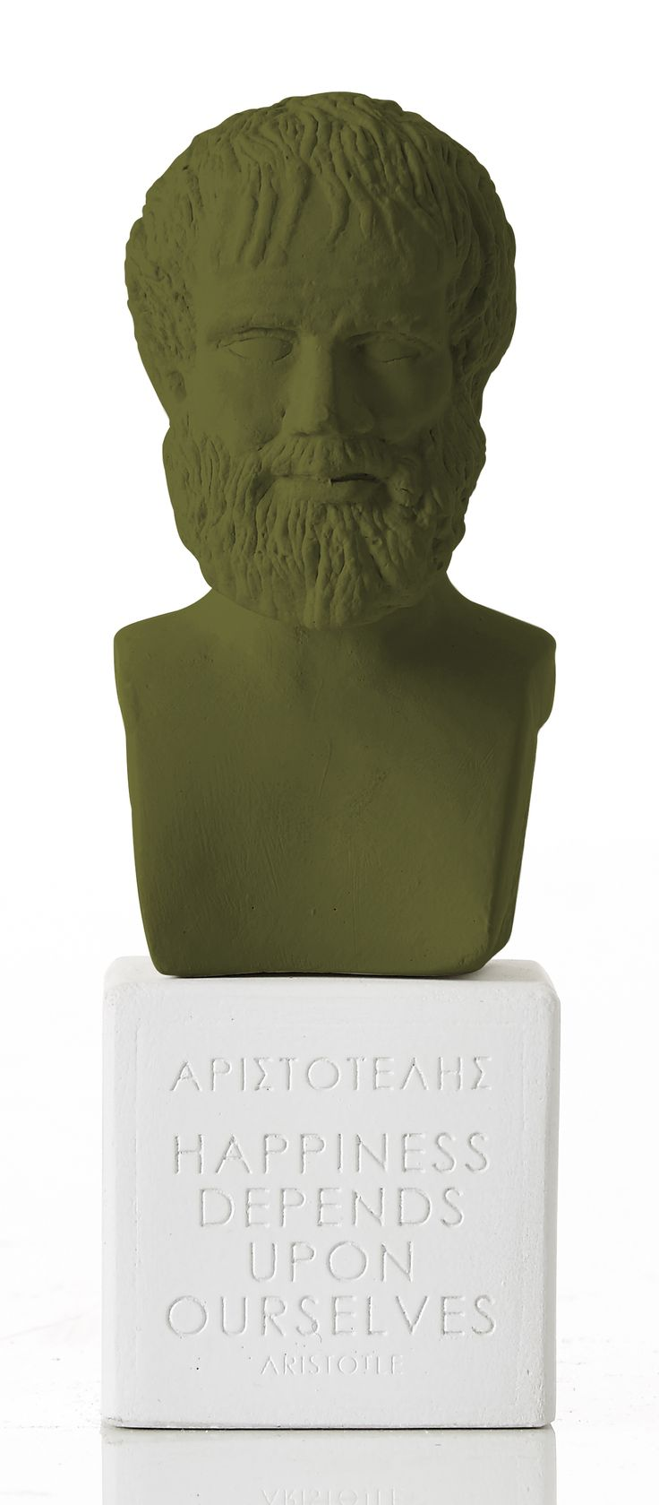"""Aristotle - """"Happiness depends upon ourselves"""" Weight: 300 gr Dimension: 14,5x5,5x5,5cm Material: ceramine Color: olive green"""