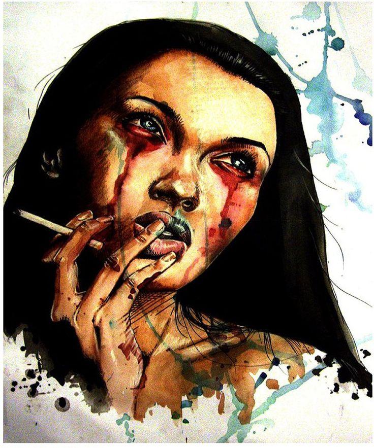 pintura de Olga Noes utilizando una técnica húmeda