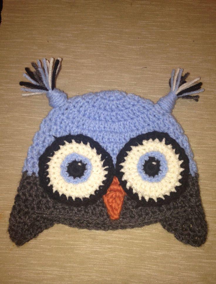 Crochet blue owl hat for toddler