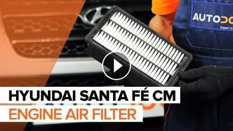 How to replace engine air filter on HYUNDAI SANTA FÉ CM [TUTORIAL]: How to replace engine air filter on HYUNDAI SANTA FÉ CM 2006, 2007,…
