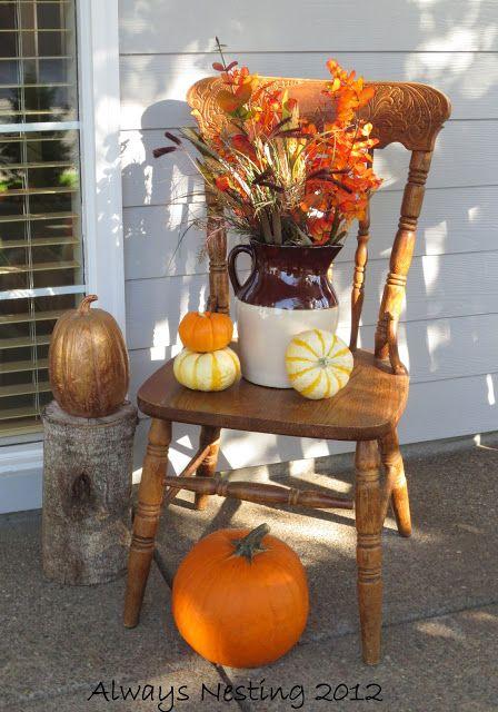Always Nesting: #fall #porch chair and pumpkin decor