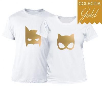 Set tricouri cuplu Gold Superheroes
