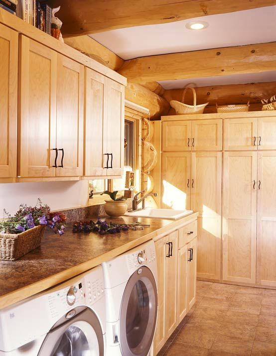 Laundry Room in a Log Home   Photo by James Ray Spahn: Dream House, Laundry Rooms Breezeway, Ceilings Cabinets, Homes Laundryroom, Dream Laundry Rooms, Logs Cabin Laundry Rooms, Utility Rooms, Laundry Mud Rooms, Large Laundry Rooms