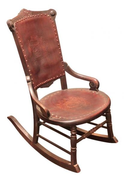 Antique Rocking Chair With Leather Seat WoodWorking