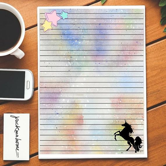 Printable Unicorn Lined Paper  Digital Stationery  Instant