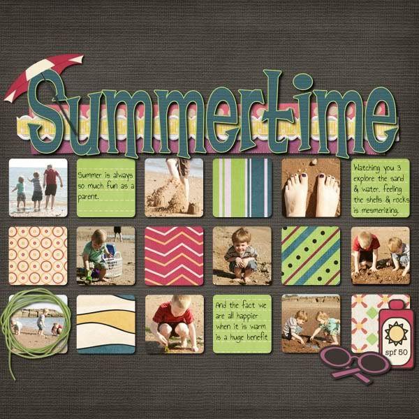 #papercraft #scrapbook #layout Blue Heart Scraps Summertime