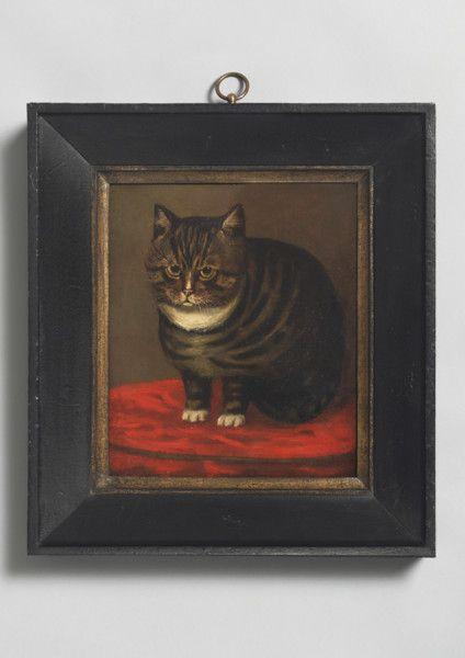 Tortoiseshell Cat on a Red Cushion, British Naive School, Oils on Canvas, c1860. #BritishFolkArt