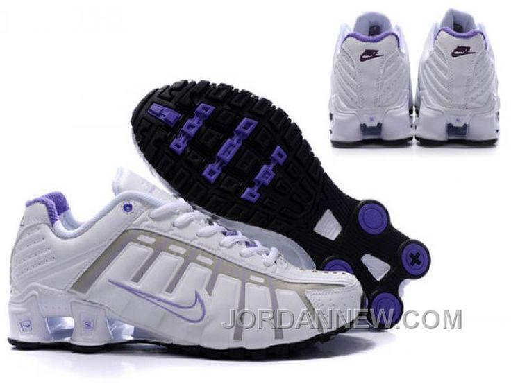 Women's Nike Shox NZ Shoes White/Grey/Light Purple/Black Online