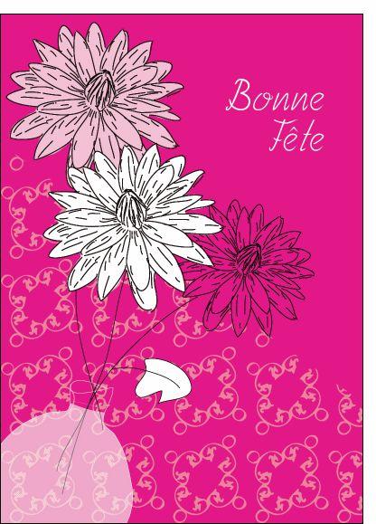 Carte Vase et fleurs Bonne fête pour envoyer par La Poste, sur Merci-Facteur !