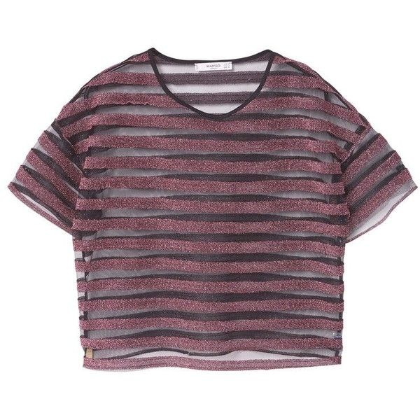Metallic Striped T-Shirt ($20) ❤ liked on Polyvore featuring tops, t-shirts, striped tee, stripe top, purple t shirt, short sleeve tops and mesh tee