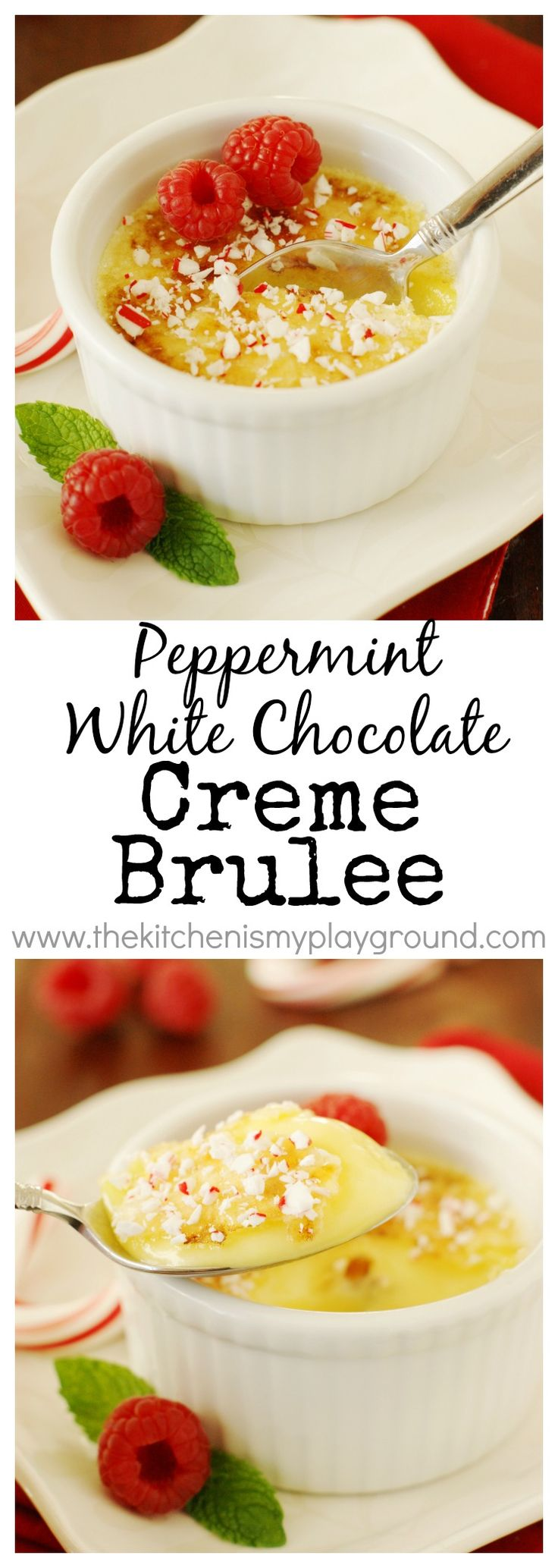 Peppermint-White Chocolate Creme Brulee ~ a beautifully festive peppermint dessert for the Christmas season! www.thekitchenism...