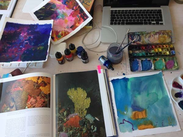 Studies & watercolours  My working desktop