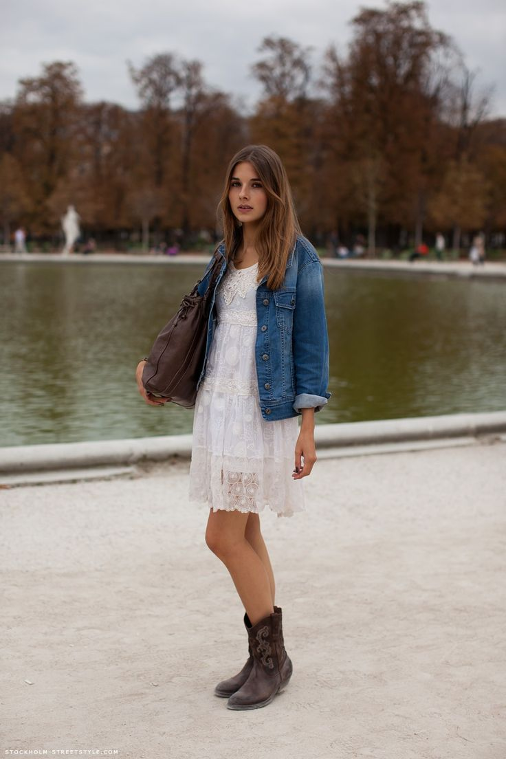 White dress jean jacket cowboy boots | Fashion | Pinterest | Denim jackets And dresses and ...