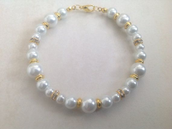 White Glass Pearl and Gold Beaded Bracelet by EverGracefulGifts