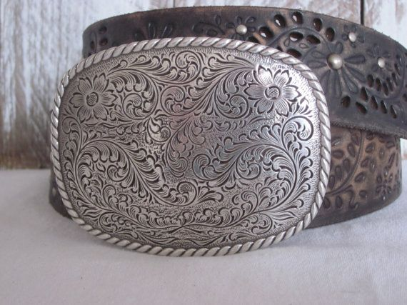 Western Floral Engraved Antique Silver OVAL or RECTANGLE Cowgirl Belt Buckle
