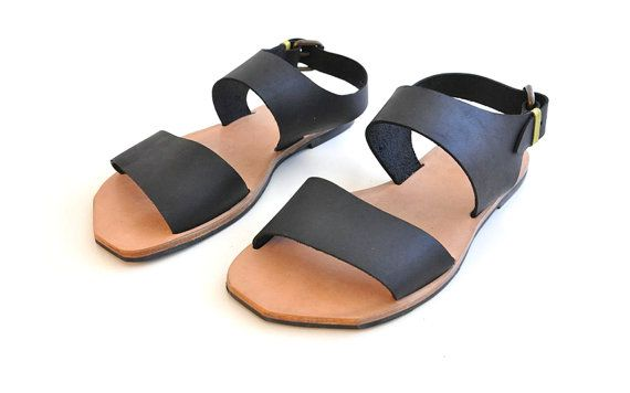 Men black straps sandals for every day walk. These leather sandals will upgrade your look!    More details:    UPUPA    * Materials - upper: