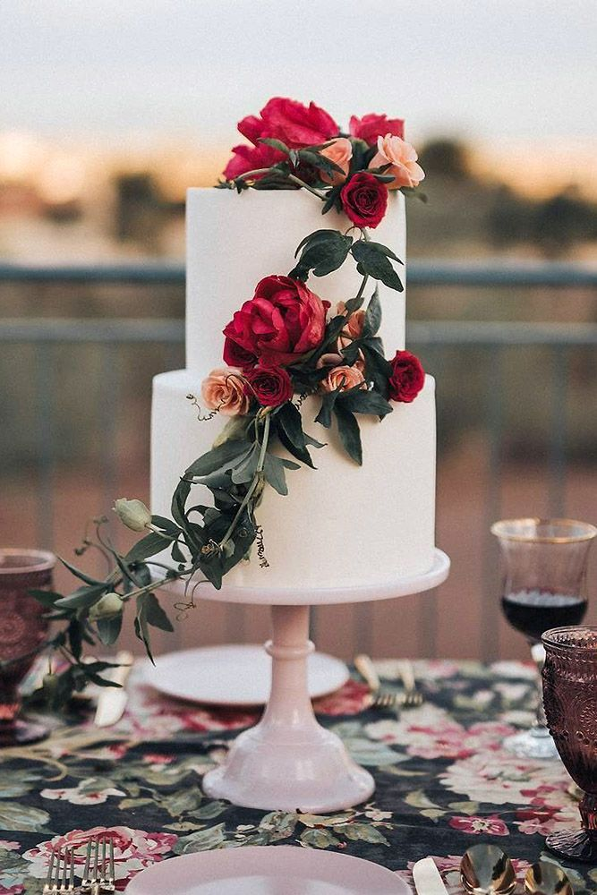 amazing wedding cakes white decorated with pink and red roses with greens ruze cake house via instagram #pinkweddingcakes