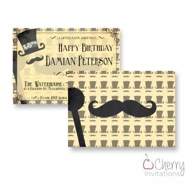 Vintage Mens Tophat Themed Double Sided Personalised Birthday Invitations - From as little as £0.41 per card - Including free envelopes and delivery on all orders!