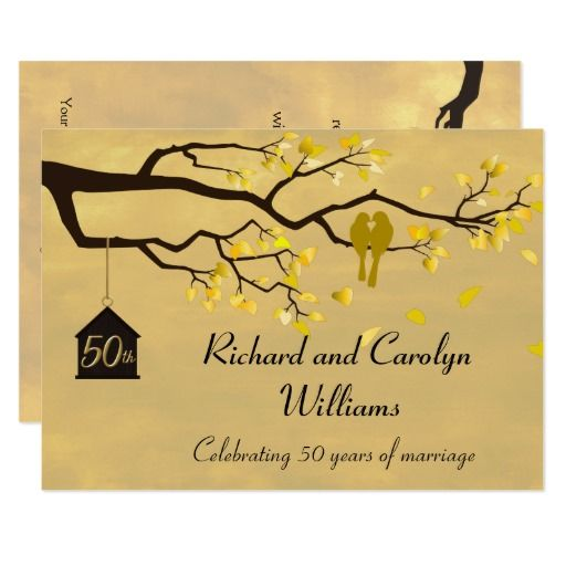 357 best love bird wedding postcards images on pinterest card love birds golden anniversary invitation stopboris Gallery