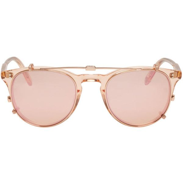 Garrett Leight Pink Milwood Clip-On Sunglasses ($425) ❤ liked on Polyvore featuring accessories, eyewear, sunglasses, pink, round keyhole sunglasses, mirrored lens sunglasses, mirror lens sunglasses, uv protection sunglasses and uv protection glasses