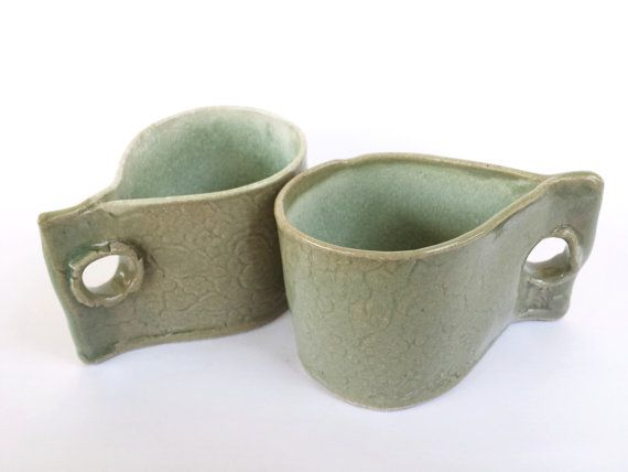 2 Handmade Mugs/ Teacups with Floral design by WhimsicaIWonderIand, $30.00