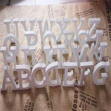 Az letras livre opcional, Branco de madeira letras de madeira do alfabeto de decoração decoração de casamento centrais decoração de parede palavras(China (Mainland))
