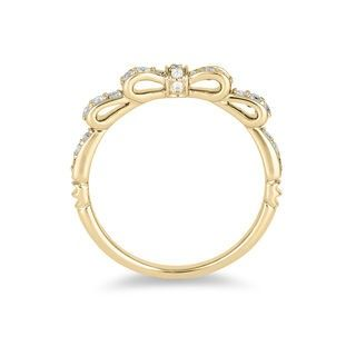 Enchanted Disney Snow White 1/4 CT. T.W. Diamond Bow Wedding Band in 14K Gold | Wedding Bands | Wedding | Zales