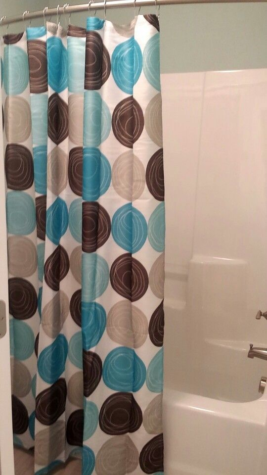 Teal And Brown Shower Curtain