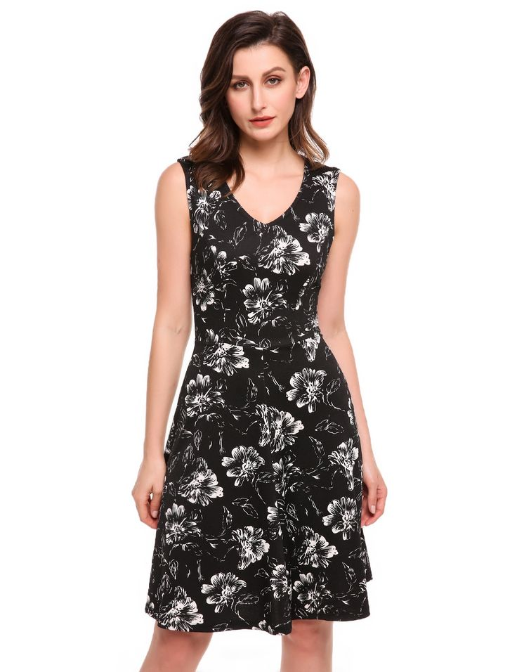 Black Women V-Neck Sleeveless Floral Print Casual Fit and Flare Dress