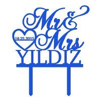 Sugar Yeti Made In USA Personalized Wedding Cake Topper Mr Heart Mrs With Date #32 Royal Blue