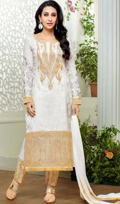 Karisma Kapoor Off White Color Georgette Pant Style Suit