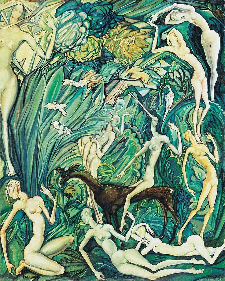 Batthyány Gyula 1888-1959 Nymphs in the Forest, 1930's 100×80 cm Oil, canvas Signed lower left: Batthyány